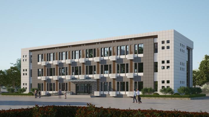 现代真石漆办公楼 雨棚 教学楼