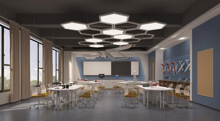 现代科技教室 吊灯 黑板