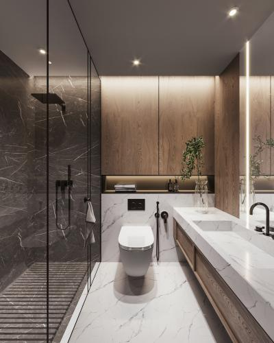 现代卫生间 洗手台 智能马桶