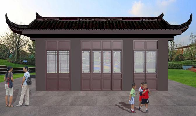 中式风格建筑 仿古门