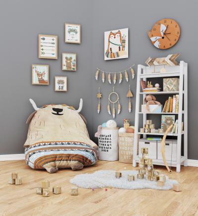北歐兒童家具小動物毛公仔玩具