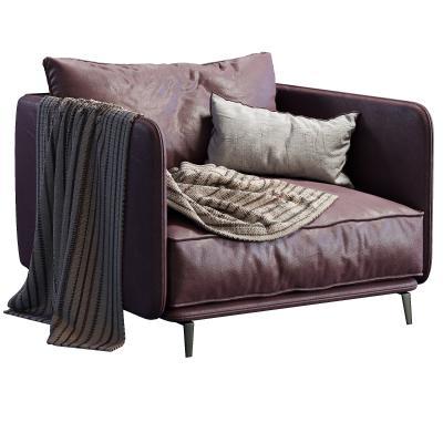 现代皮革单人沙发