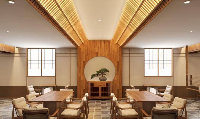 日式餐厅 边柜 餐桌椅