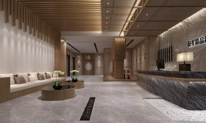 新中式酒店前台 休息区