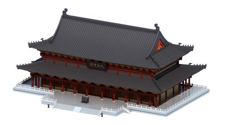 中式风格建筑 大雄宝殿 佛寺