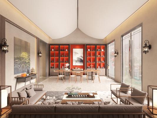 新中式茶楼包房 壁灯 挂画