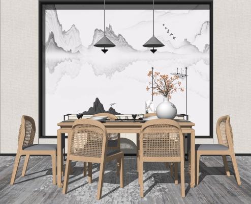 中式餐厅 餐桌椅组合