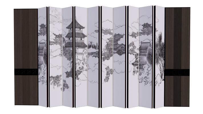 新中式壁画屏风