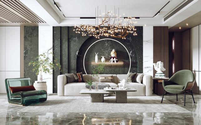 现代客厅 沙发茶几组合 沙发背景墙
