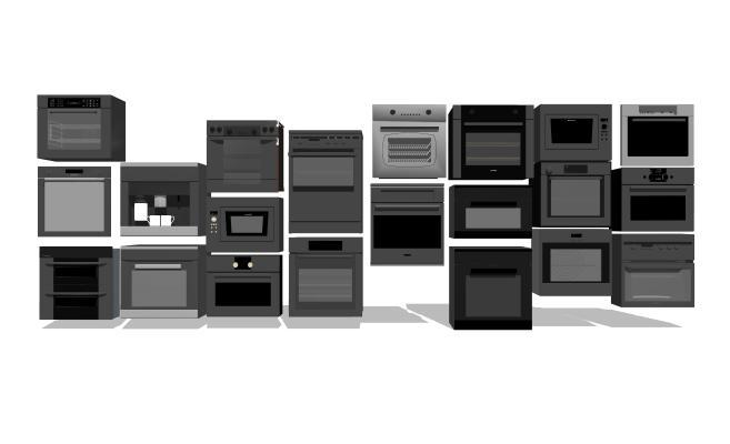 现代嵌入式烤箱微波炉洗碗机组合