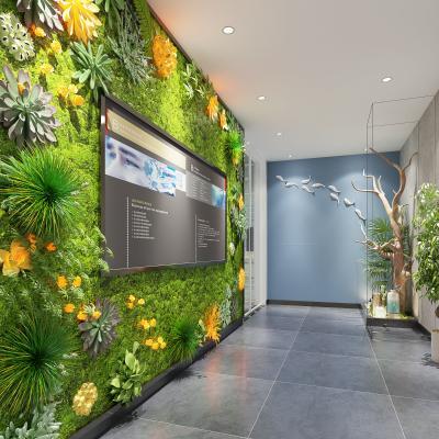 现代办公室 走廊 过道 绿植墙