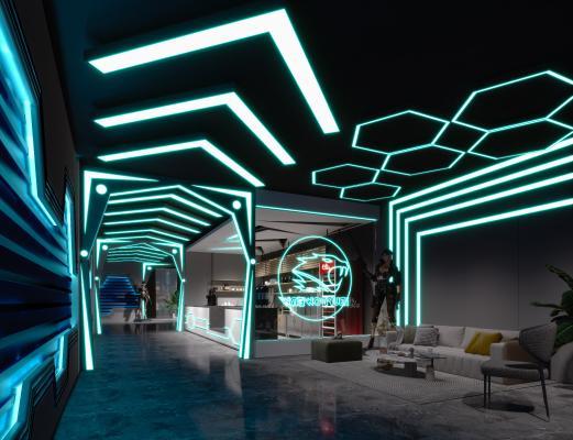 现代科幻电竞网咖 游戏接待前台大厅 休闲区 接待前台 游戏人物 沙发 网吧