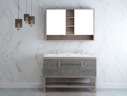 现代浴室 卫生间 岩板浴室柜