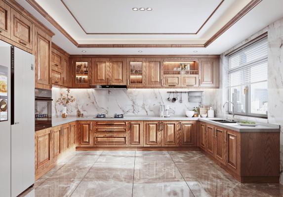 美式廚房 實木櫥柜 油煙機