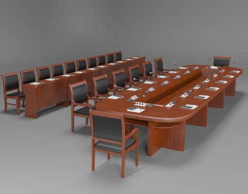 新中式实木会议桌椅