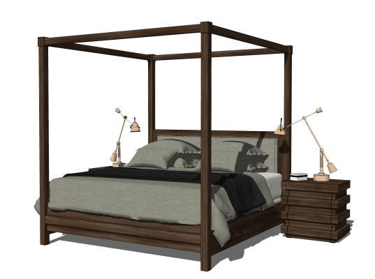新中式双人高架床 床头柜 台灯