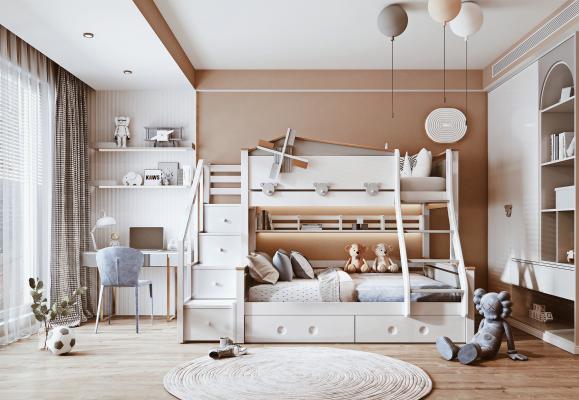 现代儿童房 上下铺 儿童床 书桌