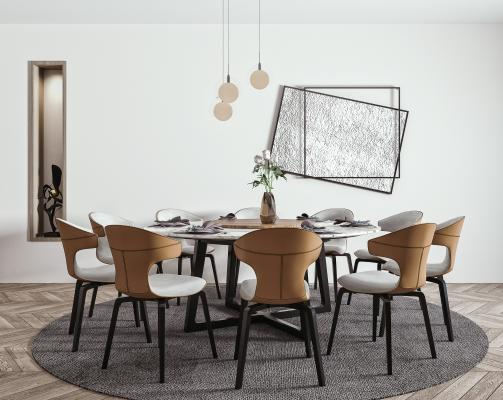 现代餐桌椅吊灯组合 餐椅 圆形餐桌