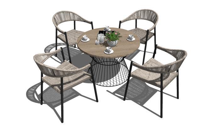 现代休闲桌椅 户外休闲椅 藤椅