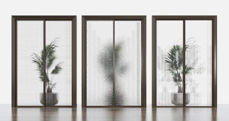 现代玻璃推拉门
