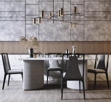 新中式高档餐桌椅 吊灯组合