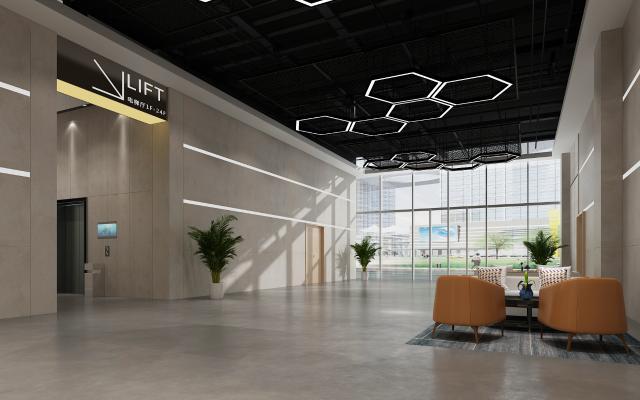 工业风办公大厅 吊灯 沙发