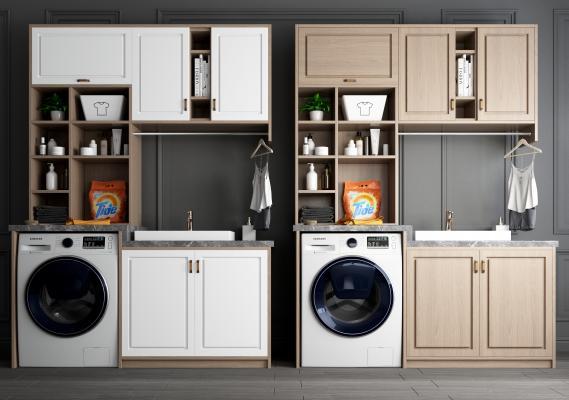 现代洗衣机 浴室柜 洗手柜 洗衣机伴侣