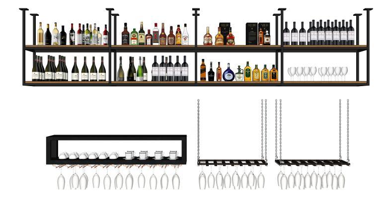 现代酒架 酒瓶 红酒杯