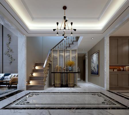 現代輕奢玄關 玄關柜 隔斷 吊燈 樓梯