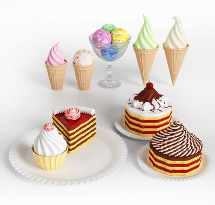 现代冰淇淋蛋糕组合