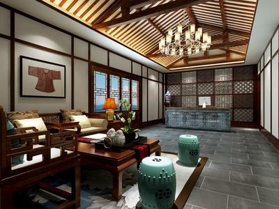 新中式酒店大堂 前台 休息区 民宿