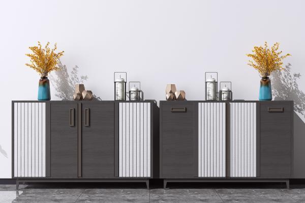 新中式餐边柜 端景柜 装饰矮柜