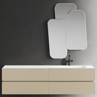 现代洗手台盆柜 镜子 水龙头