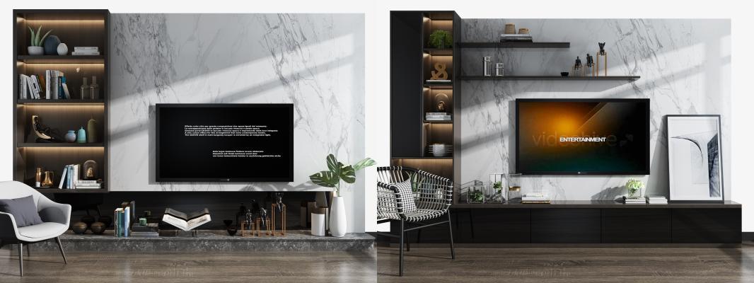 现代电视墙电视柜单椅组合