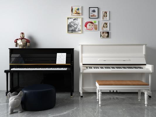 简欧钢琴 挂画