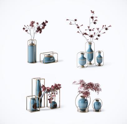 新中式禅意植物盆栽装饰摆件 陶瓷瓶罐摆设 花瓶陈设
