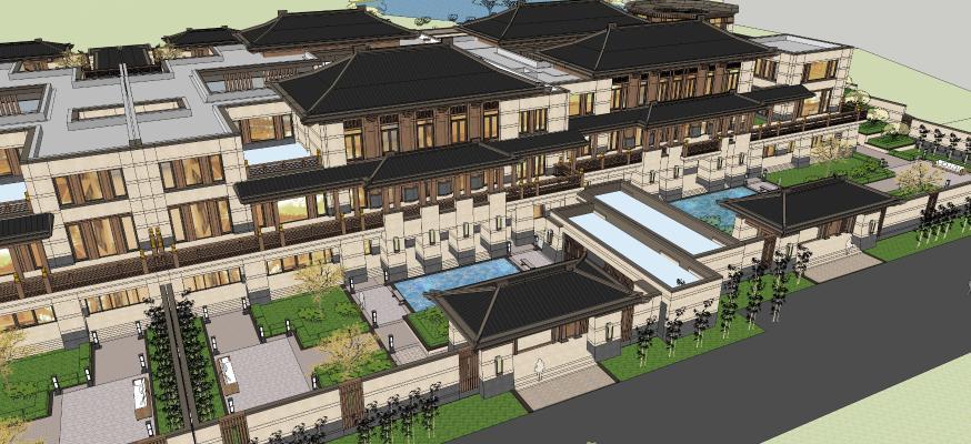 中式会所建筑景观