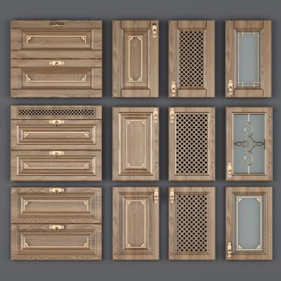 新中式实木橱柜吊柜抽屉门板3D模型