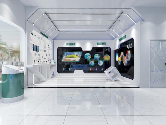 现代科技展厅 异形沙发 异形前台