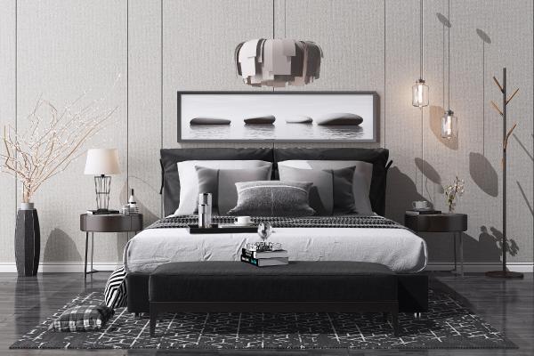 现代布艺双人床组合 床头柜 台灯