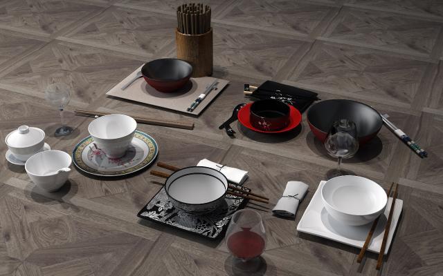 中式餐具 碗碟 酒杯 盘子