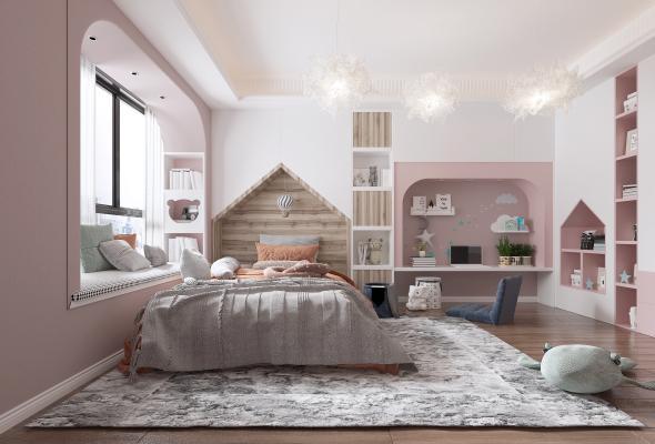 现代卧室 女孩房 地毯