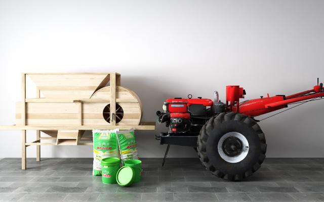 现代拖拉机 化肥 农具