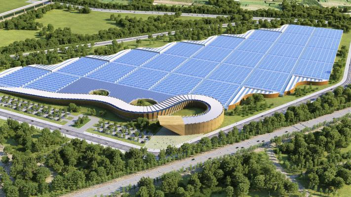 现代太阳能园区鸟瞰图