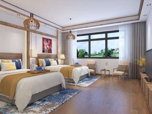 现代卧室 双人民宿 酒店卧房