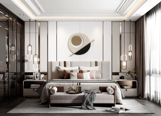 现代卧室 床组合 床头柜 衣柜 吊灯 台灯 床尾凳 装饰品