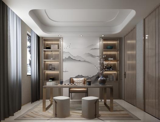 新中式书房 书柜 书桌