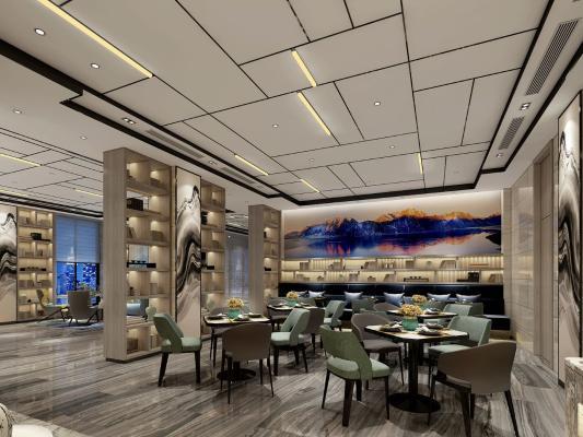 新中式大堂 大堂接待 休闲餐吧