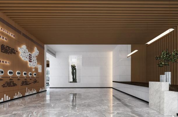 现代售楼处前台接待 大堂 接待区