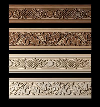 新中式实木雕花线条组合